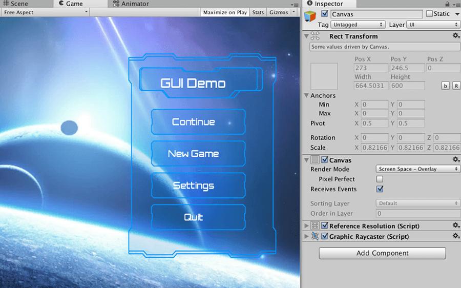 UI dans le canevas de superposition d'écran