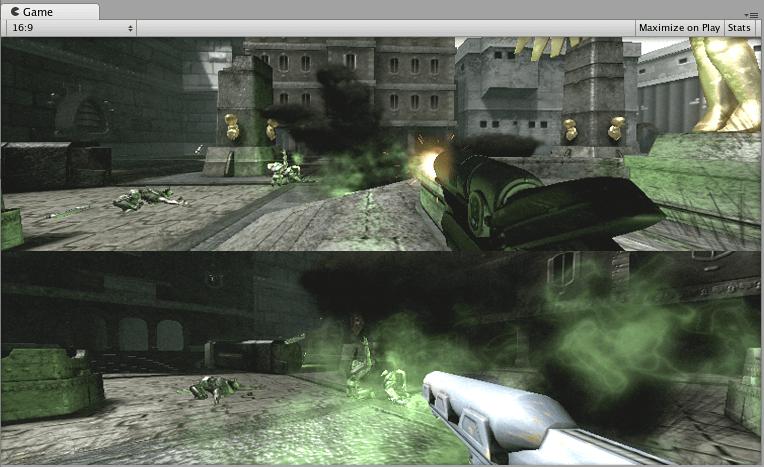 Affichage à deux joueurs créé avec la propriété Rectangle de visualisation normalisée