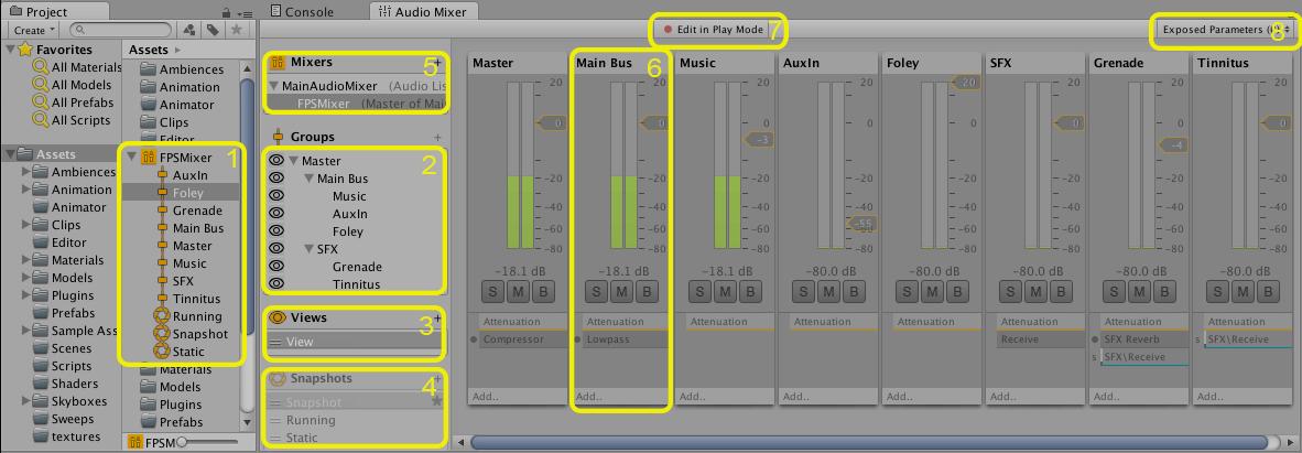 Vue de l'audiomixer