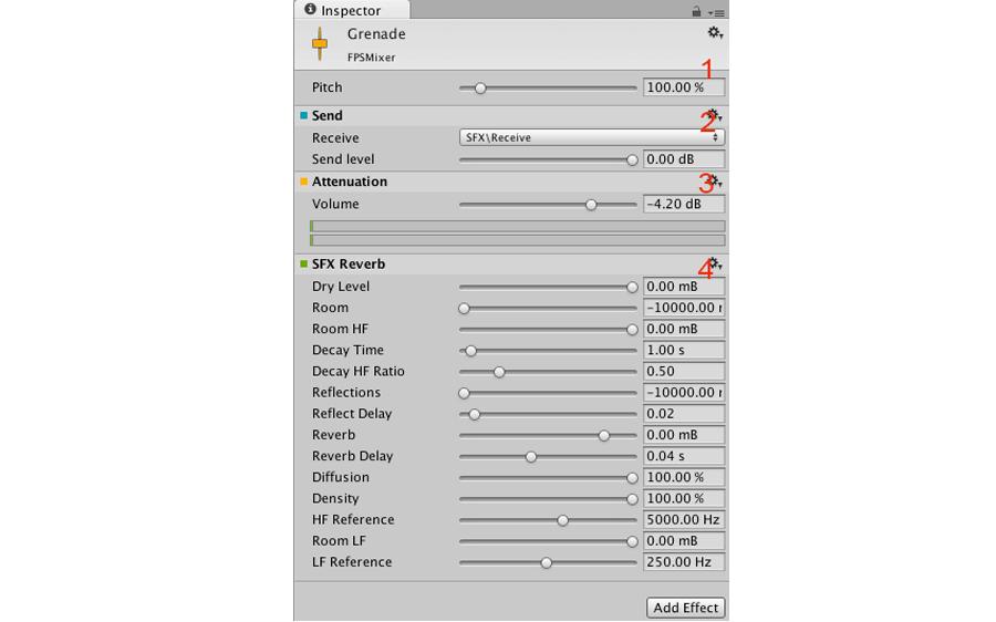 Inspecteur de l'AudioMixer