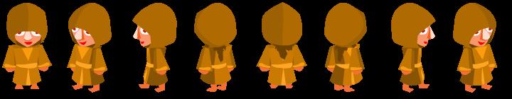 Un personnage isométrique face à différentes directions
