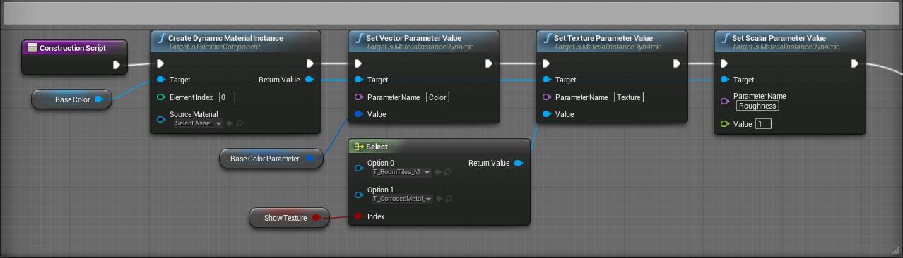 Résultat du Blueprint utilisant un nœud Create Dynamic Material Instance