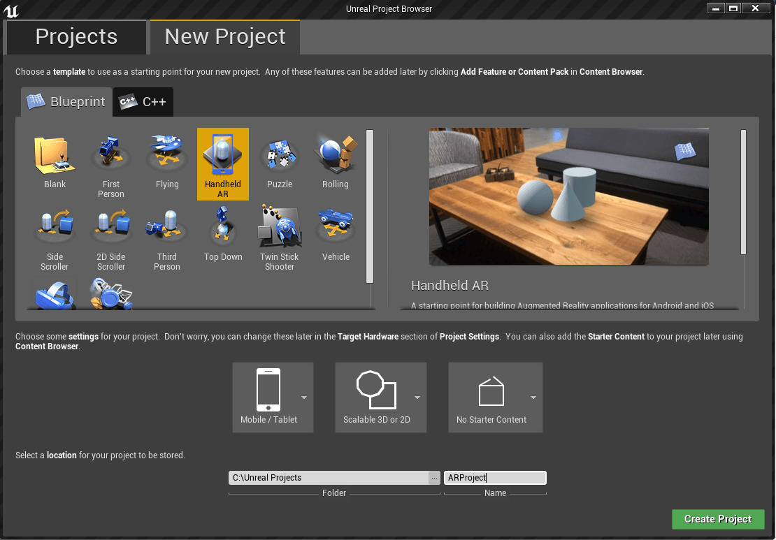 modèle Blueprint HandheldAR