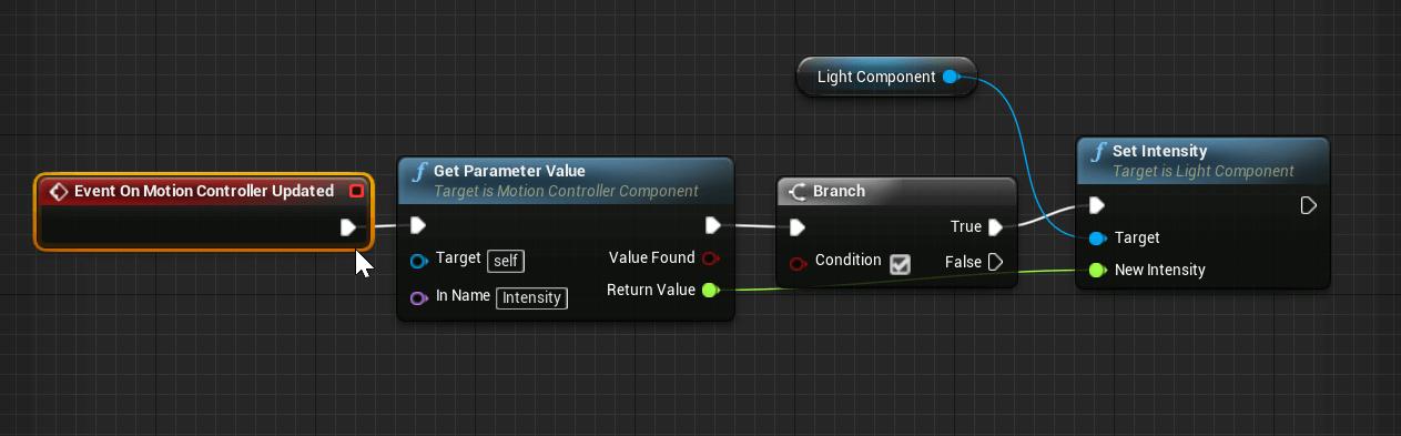 Intensité d'un composant à partir d'un paramètre Intensité dans Live Link