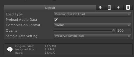 paramètres par défaut lors de l'import d'un fichier audio