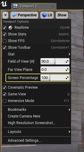 Screen Percentage dans la fenêtre de l'éditeur