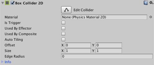 fenêtre de l'inspecteur du Box Collider 2D