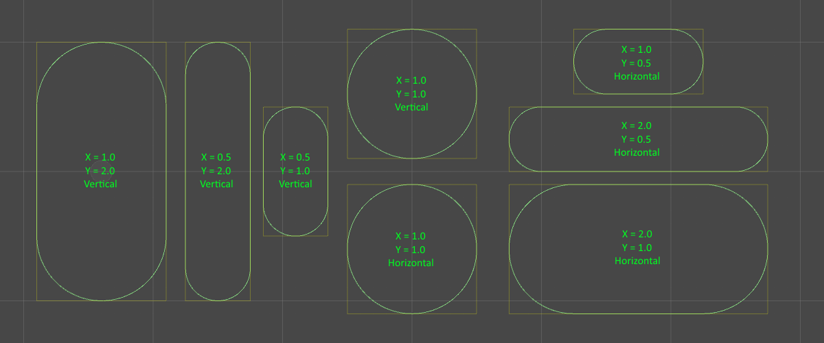 exemples de configurations du Capsule Collider 2D