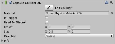 fenêtre de l'inspecteur du Capsule Collider 2D