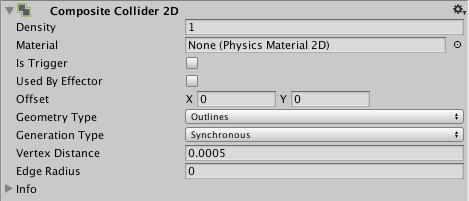 fenêtre de l'inspecteur du Composite Collider 2D