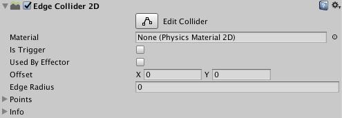 fenêtre de l'inspecteur du Edge Collider 2D