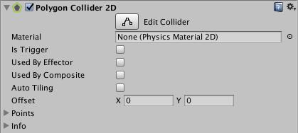 fenêtre de l'inspecteur du Polygon Collider 2D